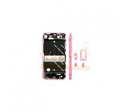 Chasis central rosa con los botones y bandeja sim para iphone 4