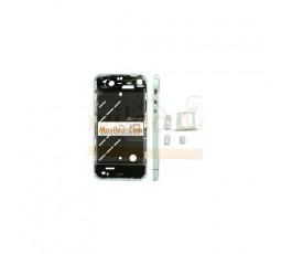 Chasis central blanco plateado con los botones y bandeja sim para iphone 4