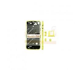 Chasis central amarillo con los botones y bandeja sim para iphone 4