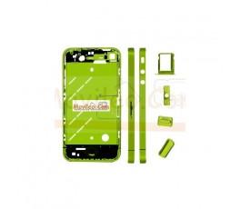 Chasis central verde con los botones y bandeja sim para iphone 4