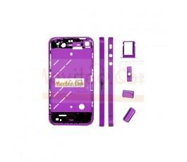 Chasis central morado con los botones y bandeja sim para iphone 4