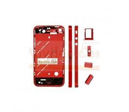 Chasis central rojo con los botones y bandeja sim para iphone 4