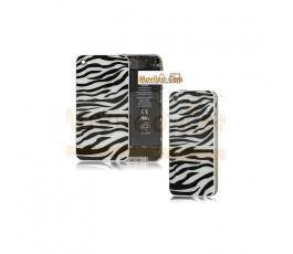Carcasa trasera, tapa de batería zebra negro con blanco para iPhone 4