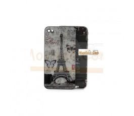 Carcasa trasera, tapa de batería torre Eiffel con mariposas para iPhone 4