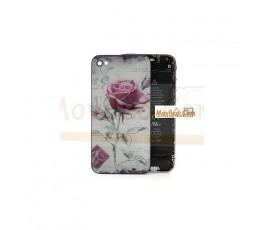 Carcasa trasera, tapa de batería con rosa para iPhone 4