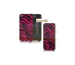 Carcasa trasera tapa de batería zebra negro con rojo para iPhone 4s