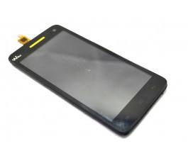 Pantalla completa táctil lcd y marco para Wiko Rainbow S5500 negro y amarillo