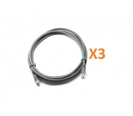 Pack 3 cables de red RJ45 Cat. 6 gris 2m