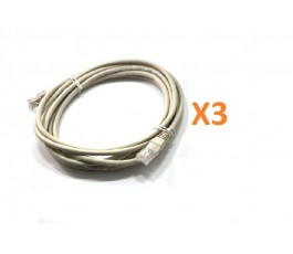 Pack 3 cables de red RJ45 Cat. 6 blanco 2,5m