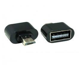 USB Conector Adaptador OTG USB a Micro Usb negro