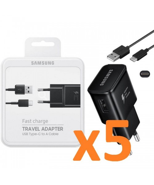 Lote 5 Cargadores Samsung carga rapida Tipo C negro original