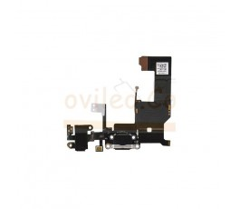 Flex conector de carga microfono y jack para iPhone 5S Negro - Imagen 1