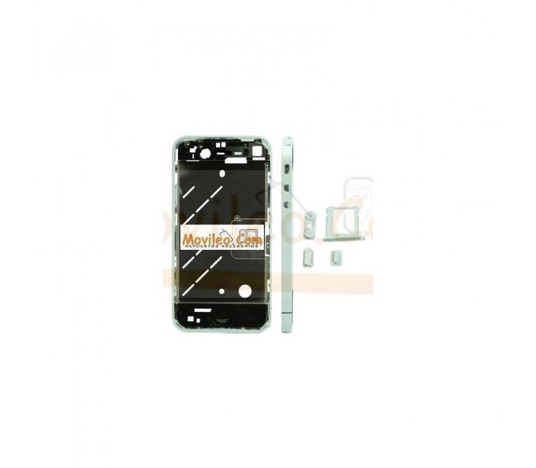Chasis central blanco plateado con los botones y bandeja sim para iphone 4 - Imagen 1