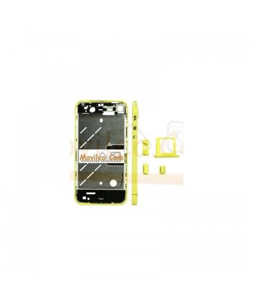 Chasis central amarillo con los botones y bandeja sim para iphone 4 - Imagen 1