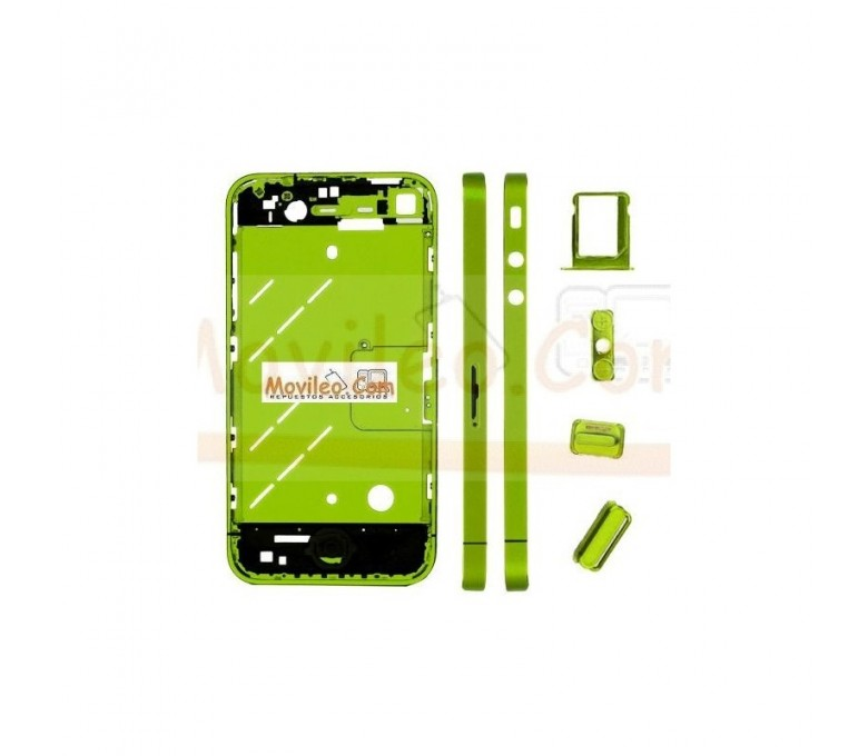 Chasis central verde con los botones y bandeja sim para iphone 4 - Imagen 1