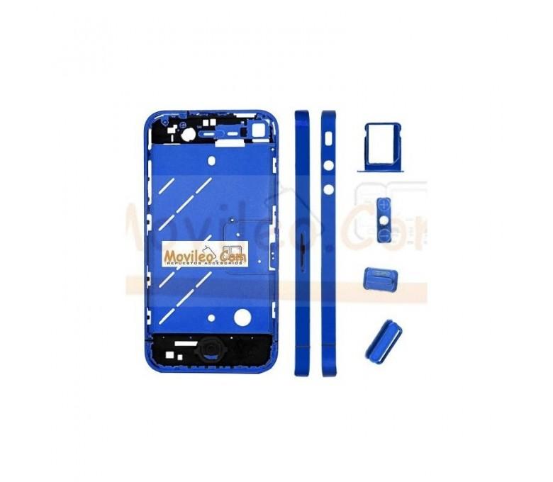 Chasis central azul con los botones y bandeja sim para iphone 4 - Imagen 1
