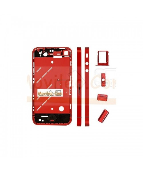 Chasis central rojo con los botones y bandeja sim para iphone 4 - Imagen 1