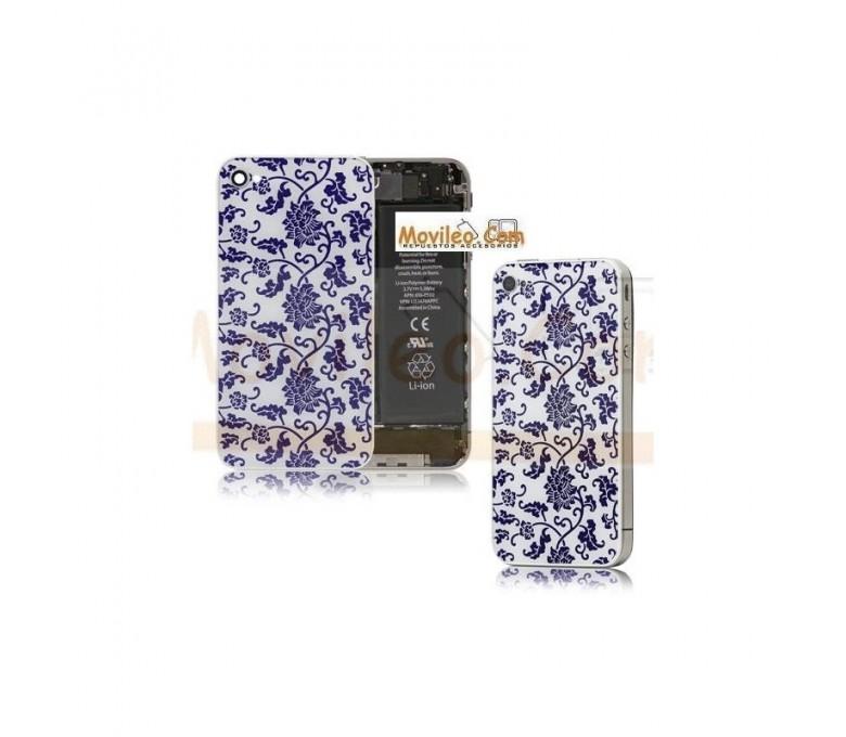 Carcasa trasera, tapa de batería modelo blanco con azul para iPhone 4 - Imagen 1