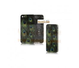 Carcasa trasera, tapa de batería modelo plumas de pavo real para iPhone 4
