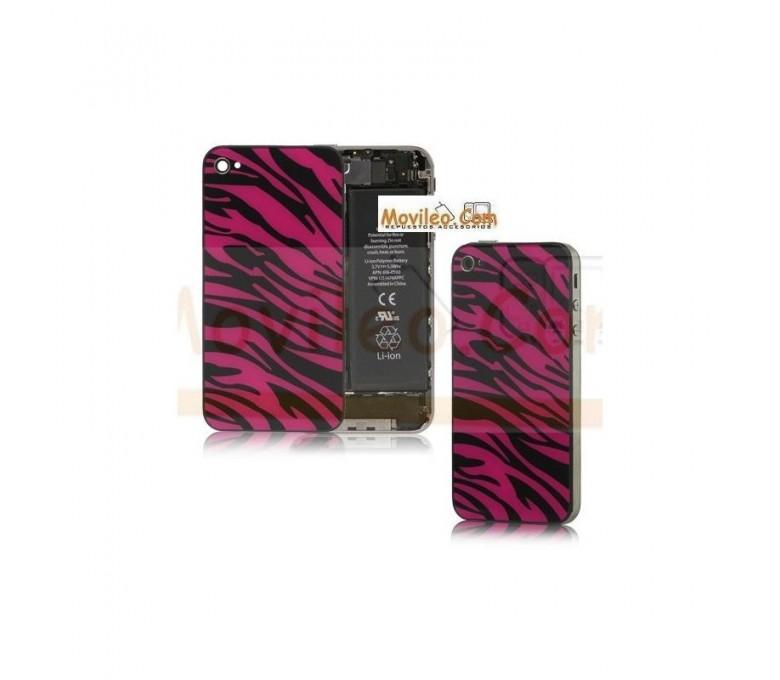 Carcasa trasera, tapa de batería zebra negro con rojo para iPhone 4 - Imagen 1