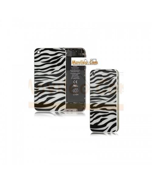 Carcasa trasera, tapa de batería zebra negro con blanco para iPhone 4 - Imagen 1