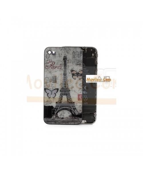 Carcasa trasera, tapa de batería torre Eiffel con mariposas para iPhone 4 - Imagen 1