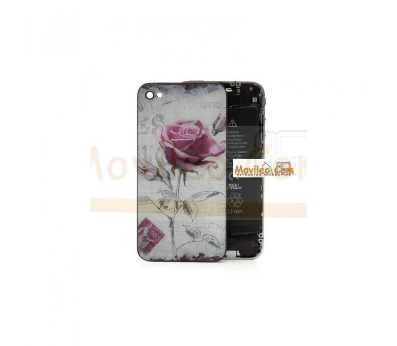 Carcasa trasera, tapa de batería con rosa para iPhone 4 - Imagen 1