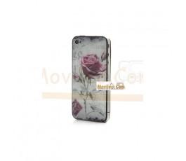 Carcasa trasera, tapa de batería con rosa para iPhone 4 - Imagen 2