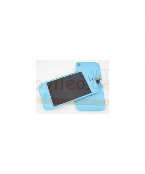 Kit Completo Azul Pitufo iPhone 4G Pantalla + Tapa + Botón home - Imagen 1