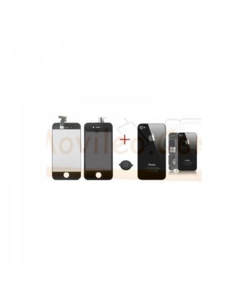 Kit Completo Negro iPhone 4 , Pantalla + Tapa + Boton Home - Imagen 1