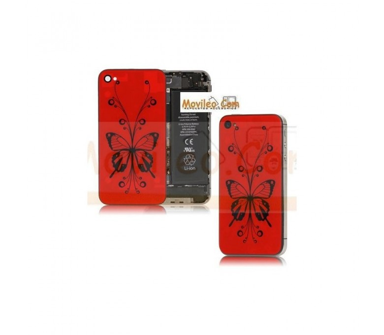 Carcasa trasera tapa de batería roja con mariposa para iPhone 4S - Imagen 1