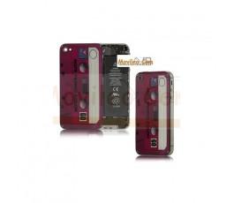 Carcasa trasera tapa de batería cinta de cassette roja para iPhone 4s