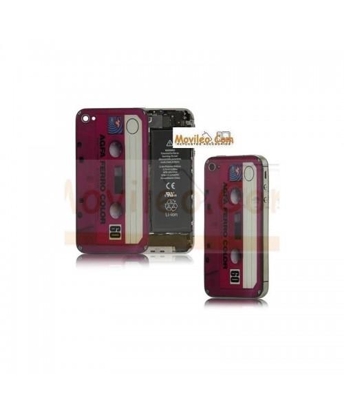 Carcasa trasera tapa de batería cinta de cassette roja para iPhone 4s - Imagen 1