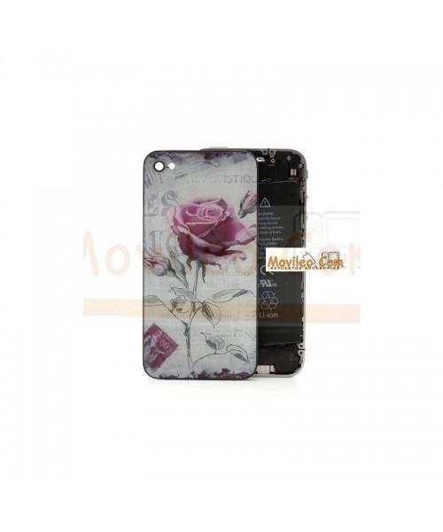 Carcasa trasera, tapa de batería con rosa para iPhone 4s - Imagen 1