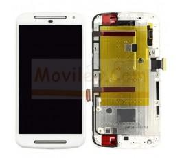 Pantalla Completa táctil lcd y marco para Motorola Moto G2 Blanco - Imagen 1
