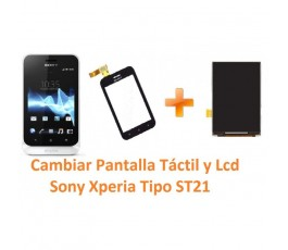 Cambiar Pantalla Lcd y Táctil Sony Xperia Tipo ST21 - Imagen 1