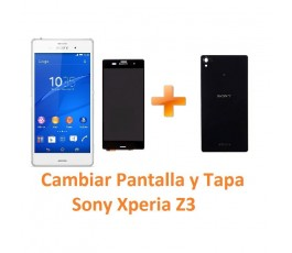 Cambiar Pantalla Completa y Tapa Trasera Sony Xperia Z3 L55T D6603 D6643 D6653 - Imagen 1